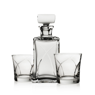 Whisper Whiskey Decanter and 2 Double Old Fashioned glasses