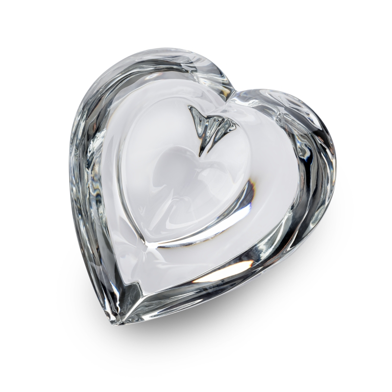 Steuben's Enchanted Heart - a palm-sized heart crystal with a small central indent.