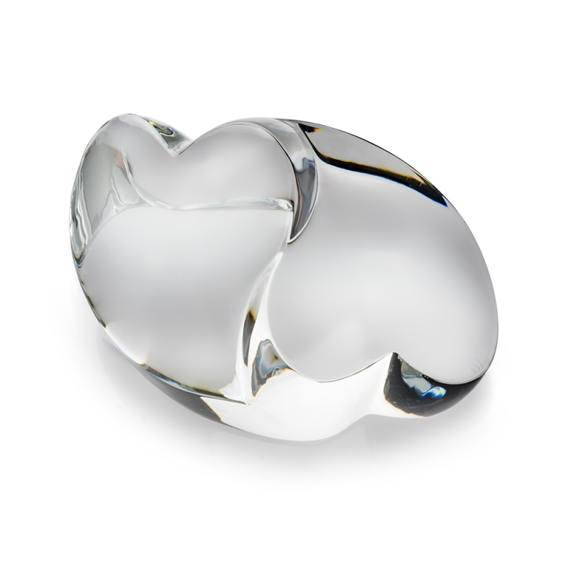 Two fused crystal hearts